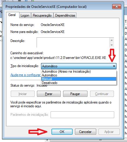 Serviços do Oracle XE com inicialização manual
