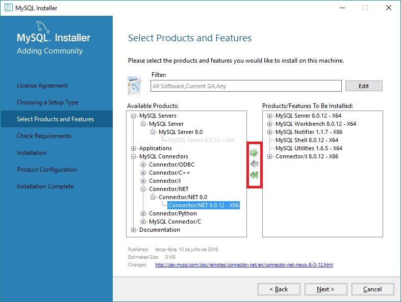 Tela de seleção de componentes do MySQL a serem instalado.