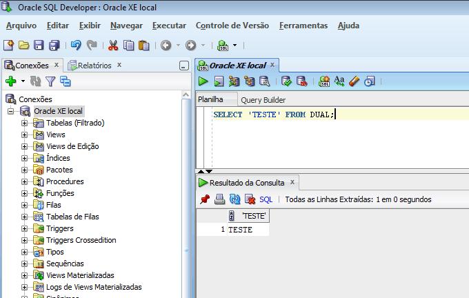 SQL Developer conectado ao Oracle XE