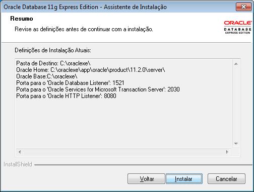 resumo da instalação do Oracle XE