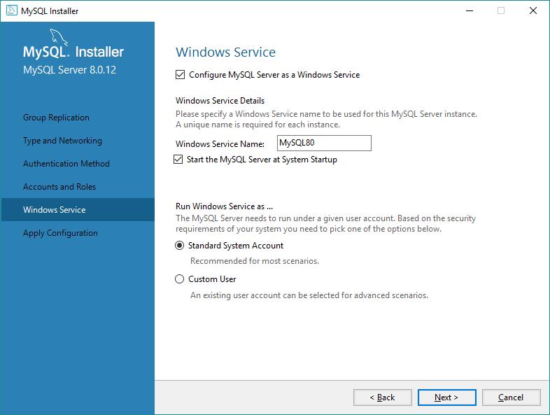 Modo de execução do MySQL no Windows