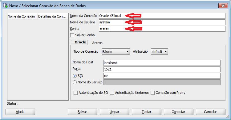 tela para criar conexão com o banco de dados no SQL Developer