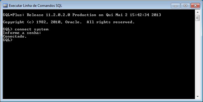Executar Linha de Comandos SQL no Oracle XE