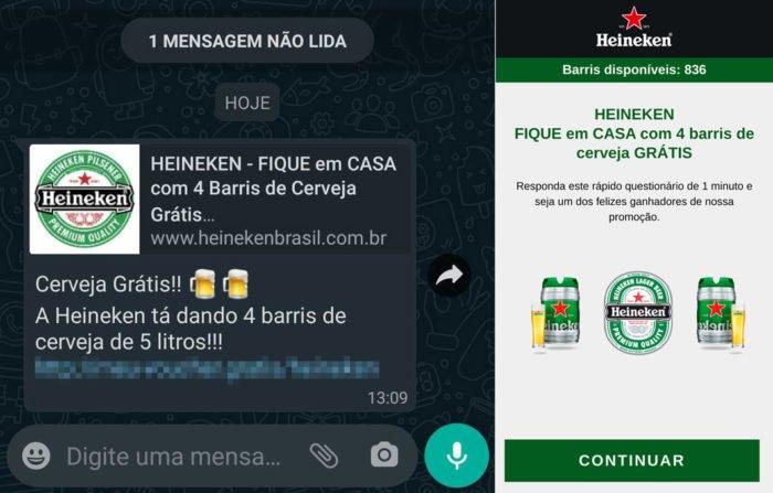 Golpe de cerveja grátis no WhatsApp