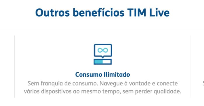 TIM Live promete consumo ilimitado